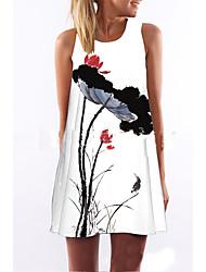 cheap -Women's Mini White Dress Summer Weekend Shift Floral Print S M