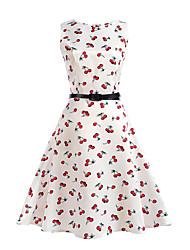 cheap -Women's Daily Holiday Beach Vintage A Line Dress - Fruit Cherry, Print Summer Cotton Blue White