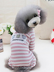 cheap -Dog Jumpsuit Stripes Casual / Daily Sports Simple Style Dog Clothes Pink Gray Costume Baby Small Dog Cotton