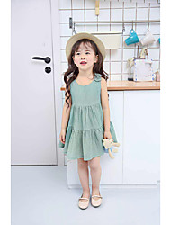 cheap -Girls' Bow Solid Colored Sleeveless Cotton Dress Light Green