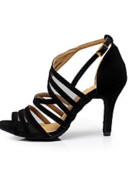 cheap -Women's Dance Shoes Flocking Buckle Sandal Stiletto Heel Customizable Black / Practice / EU42