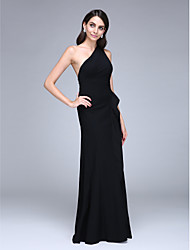 cheap -Sheath / Column Formal Evening Dress One Shoulder Sleeveless Floor Length Satin with Ruffles 2021