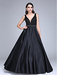 cheap -Ball Gown Minimalist Formal Evening Dress Plunging Neck Sleeveless Floor Length Satin with Sash / Ribbon Beading 2020