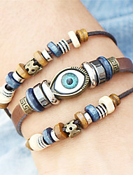 cheap -Men's Women's Wrap Bracelet Leather Bracelet Evil Eye Ladies Vintage Bohemian Punk Fashion Wooden Bracelet Jewelry Brown Evil Eye For Christmas Christmas Gifts Wedding Party Special Occasion