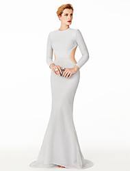 cheap -Mermaid / Trumpet Jewel Neck Sweep / Brush Train Roman Knit Open Back / Celebrity Style Cocktail Party / Prom / Formal Evening Dress 2020 with Pleats