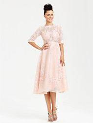 cheap -A-Line Cocktail Party Wedding Party Dress Bateau Neck Boat Neck Half Sleeve Tea Length Lace with Sash / Ribbon Appliques 2020