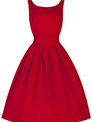 cheap -Vintage Dress Red Women's Party  Dress Solid Colored Red Spring Cotton Green Black L XL XXL
