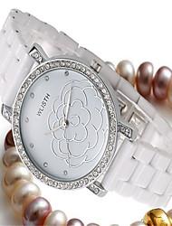cheap -Women's Fashion Watch Quartz Casual Analog White Gold / Ceramic