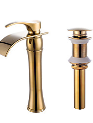 cheap -Faucet Set - Waterfall Ti-PVD Centerset One HoleBath Taps