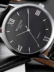 Недорогие -Муж. Наручные часы Кварцевый Кожа Черный Повседневные часы Аналоговый На каждый день Мода - Черный Белый
