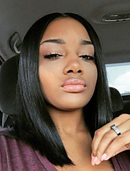 cheap -Human Hair Glueless Lace Front / Lace Front Wig Straight Wig 130% Natural Hairline / African American Wig / 100% Hand Tied Women's Short / Medium Length Human Hair Lace Wig