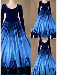 cheap -Gothic Victorian Medieval 18th Century Dress Party Costume Masquerade Women's Satin Costume Blue Vintage Cosplay Party Prom Long Sleeve Floor Length Plus Size Customized