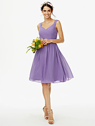 cheap -A-Line Straps Knee Length Chiffon Bridesmaid Dress with Sash / Ribbon / Bow(s) / Criss Cross / Open Back