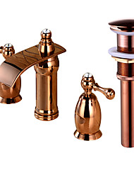 cheap -Faucet Set - Waterfall Rose Gold Widespread Two Handles Three HolesBath Taps