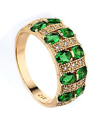 cheap -Women's Ring Synthetic Emerald Dark Green Zircon Alloy Ladies Unique Design Fashion Wedding Special Occasion Jewelry