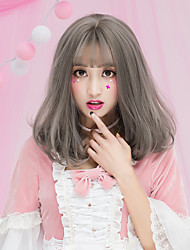cheap -Synthetic Wig Wig Medium Length Flaxen Chestnut Brown Ash Brown Brown Grey Synthetic Hair Women's Brown Gray Yellow