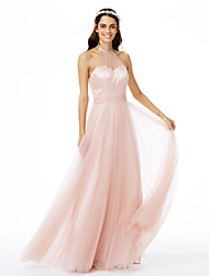 cheap -A-Line Jewel Neck Floor Length Tulle Bridesmaid Dress with Sash / Ribbon / Pleats / See Through