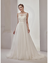 cheap -Ball Gown Bateau Neck Court Train Lace / Tulle Regular Straps See-Through / Beautiful Back Made-To-Measure Wedding Dresses with Beading / Sashes / Ribbons 2020