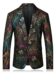 cheap -Men's Party / Daily / Casual Formal / Street chic / Sophisticated Spring / Fall Regular Blazer, Rainbow Notch Lapel Long Sleeve Velvet / Sequined Print Rainbow