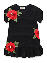 cheap -Toddler Girls' Ruffle Floral Fashion Short Sleeve Dress Black