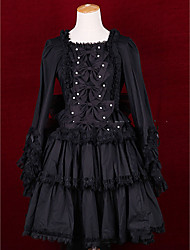 cheap -Princess Gothic Lolita Punk Dress Women's Girls' Cotton Japanese Cosplay Costumes Plus Size Customized Black Ball Gown Vintage Cap Sleeve Long Sleeve Short / Mini / Gothic Lolita Dress