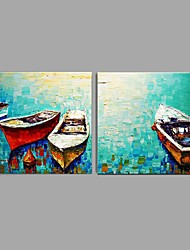 cheap -Oil Painting Hand Painted - Landscape Abstract / Modern / Contemporary / Pastoral Canvas