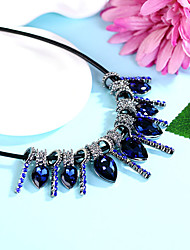 cheap -Women's Statement Necklace Unique Design Fashion Euramerican Crystal Alloy Purple Gold Dark Blue Necklace Jewelry For Party Evening Party
