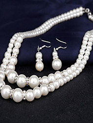 cheap -Women's Pearl Necklace Earrings Bridal Jewelry Sets Double Strand Ladies Double-layer Elegant Pearl Earrings Jewelry White For Wedding Party Engagement Gift Daily Masquerade