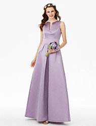 cheap -A-Line Notched Floor Length Satin Bridesmaid Dress with Pleats / Pocket