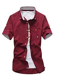cheap -Men's Cotton Shirt - Solid Colored Army Green XXXL / Short Sleeve