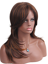 cheap -Synthetic Wig Straight Straight Wig Long Dark Brown / Medium Auburn Synthetic Hair Women's Brown MAYSU