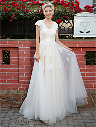 cheap -A-Line V Neck Floor Length Lace Over Tulle Short Sleeve Made-To-Measure Wedding Dresses with Appliques / Sash / Ribbon 2020