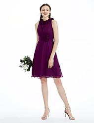 cheap -Princess / A-Line Jewel Neck Knee Length Chiffon Bridesmaid Dress with Ruched / Ruffles / Draping