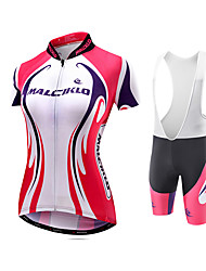 cheap -Malciklo Women's Short Sleeve Cycling Jersey with Bib Shorts White Bike Jersey Tights Bib Tights Breathable Quick Dry Reflective Strips Back Pocket Sports Polyester Coolmax® Lycra Curve Mountain Bike