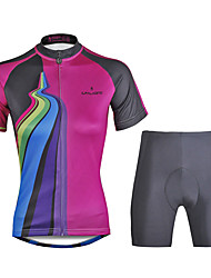 cheap -ILPALADINO Women's Short Sleeve Cycling Jersey with Shorts Black Bike Clothing Suit 3D Pad Quick Dry Ultraviolet Resistant Reflective Strips Back Pocket Sports Polyester Lycra Patchwork Mountain Bike