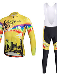 cheap -Miloto Men's Cycling Jersey with Bib Tights - Yellow Bike Clothing Suit Polyester, Lycra Painting / Quick Dry / Stretchy