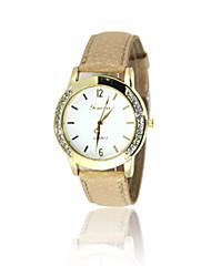 Недорогие -Жен. Модные часы Кварцевый Стеганная ПУ кожа Белый / Зеленый / Фиолетовый Аналоговый Бежевый Лиловый Зеленый