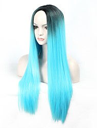 cheap -Cosplay Costume Wig Synthetic Wig Cosplay Wig Straight Straight Wig Long Blue Synthetic Hair Women's Blue