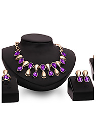 cheap -Women's Sapphire Amethyst Jewelry Set Pear Cut Statement Ladies Personalized Vintage Fashion Euramerican Gold Plated Earrings Jewelry Purple / Blue For Wedding Party Special Occasion Congratulations