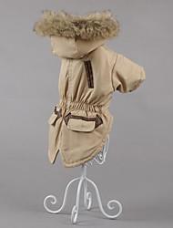 abordables -Chien Manteaux Hiver Vêtements pour Chien Costume Coton Couleur Pleine Décontracté / Quotidien Garder au chaud XS S M L XL