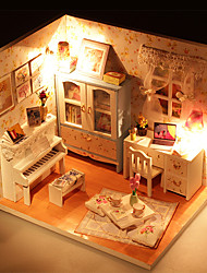 cheap -Hoomeda Dollhouse Model Building Kit LED Light DIY Exquisite Furniture House Textile Wooden Plastic 1 pcs Kid's Girls' Toy Gift / Hand-made