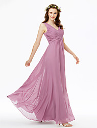 cheap -Sheath / Column V Neck Floor Length Chiffon Bridesmaid Dress with Criss Cross / Pleats / Open Back