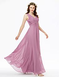cheap -Sheath / Column V Neck Floor Length Chiffon Bridesmaid Dress with Criss Cross / Pleats / Open Back