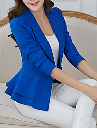 cheap -Women's Daily / Work Spring / Fall Short Blazer, Solid Colored Notch Lapel Long Sleeve Polyester Ruffle White / Black / Fuchsia