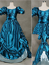 cheap -Princess Marie Antoinette Gothic Victorian Medieval 18th Century Dress Party Costume Masquerade Women's Satin Costume Dark Blue Vintage Cosplay Short Sleeve Floor Length Ball Gown Plus Size Customized