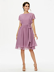 cheap -A-Line Jewel Neck Knee Length Chiffon Bridesmaid Dress with Bow(s) / Sashes / Ribbons / Pleats