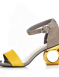 cheap -Women's Sandals Heterotypic Heel Open Toe Buckle Suede Spring / Summer Black / Yellow / Screen Color / EU39