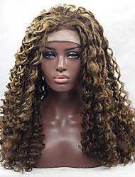 cheap -Synthetic Lace Front Wig Curly Curly Lace Front Wig Blonde Medium Length Long Brown Blonde Synthetic Hair Women's Natural Hairline Blonde Brown