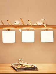 cheap -3-Light 80 cm Pendant Light Wood / Bamboo Glass Painted Finishes 110-120V 220-240V