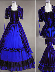 cheap -Rococo Victorian 18th Century Dress Party Costume Women's Cotton Costume Blue Vintage Cosplay Party Prom Short Sleeve Floor Length Plus Size Customized